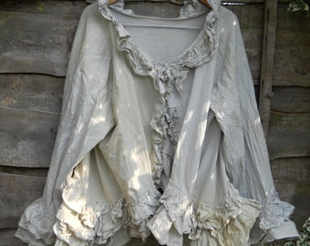 Auth W/ RitaNoTiara magnolia bow pale green Bustle Jacket OSFM Victorian Romantic Gothic   layering artisan quirky Lagenlook art to wear