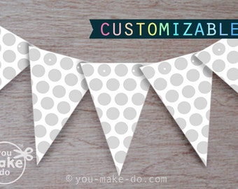 gray baby shower banner gray birthday banner party printables gender neutral baby shower dot party polka dots decorations dot party supplies