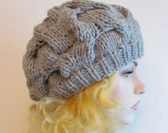 PDF Knitting Pattern Instant Download Chunky Slouchy Beanies Berets Tam Cable Hipster Hats Womens Girls