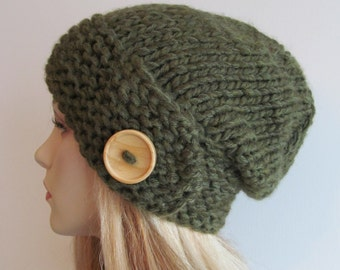 Slouchy Beanie Slouch Wool Hats Oversized Baggy Beret Button womens fall winter accessory Olive Green Super Chunky Hand Made Knit