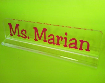 SALE Personalized teacher gift acrylic desk name plate