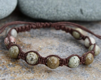 Macrame Bracelet, Jasper, Earth Tones, Adjustable Macrame, Stone Bracelet, Adjustable Bracelet, Macrame Jewelry, Earth tone Jewelry