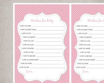 Wishes For Baby Sheets - Pink & Grey Polka Dot -  INSTANT DOWNLOAD