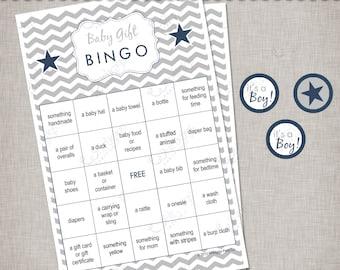Chevron Baby Shower - Silver & Navy Blue Gift Bingo Game -  INSTANT DOWNLOAD