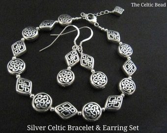 Silver Celtic Jewelry Set - Includes  Bracelet & Earrings