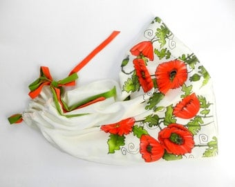 Red poppy dress. Dress for girl.Hand painted dress.Made to order.