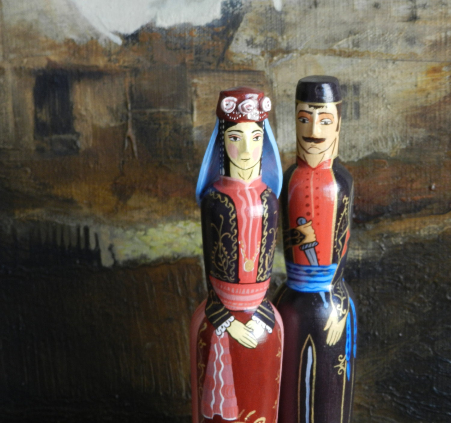 Wooden Wedding Dolls Armenian National Hand Painted