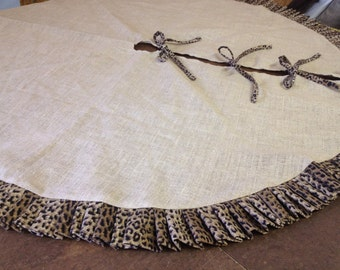 Cheetah Print Ruffled Burlap Tree Skirt