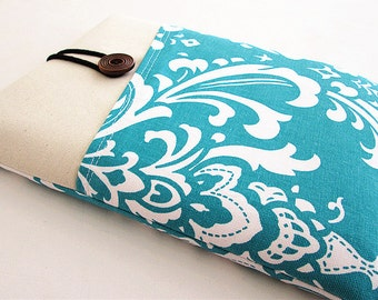 Ipad case, Ipad cover, Ipad sleeve with pocket, Padded ,Ipad 1, Ipad 2, Ipad 3, Ipad 4- Blue Damask