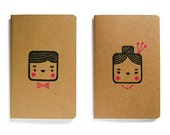 Set of two cute Moleskine notebooks Monsieur and Madame - Handstamped with cute character illustration - A6 / small