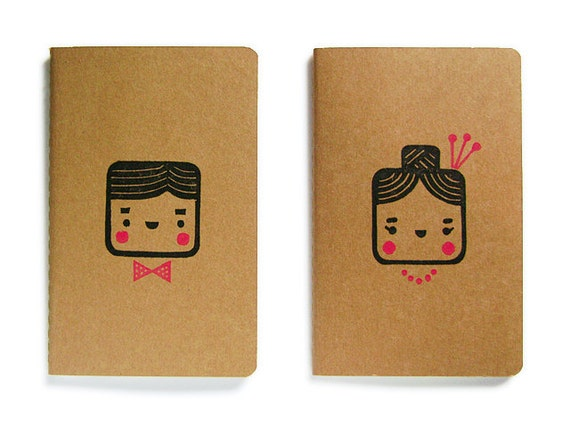 Set of two cute Moleskine notebooks Monsieur and Madame - Handstamped with cute character illustration - A6 / small - handmade notebook