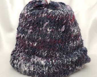 Twilight Colors Loom Knit Hat with Brim