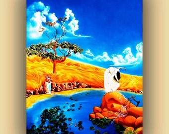 "Fine art Print landscape, Original oil painting, ""Kissing The Sky"" by artist Sasha T. Women in white dress, Blue, Gold, White, Koi Fish"