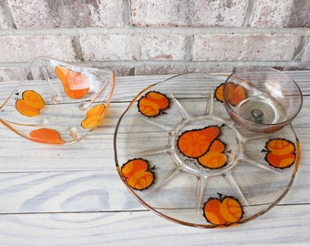 GEORGES BRIARD glass serving snack tray platter and matching dish snack bowl
