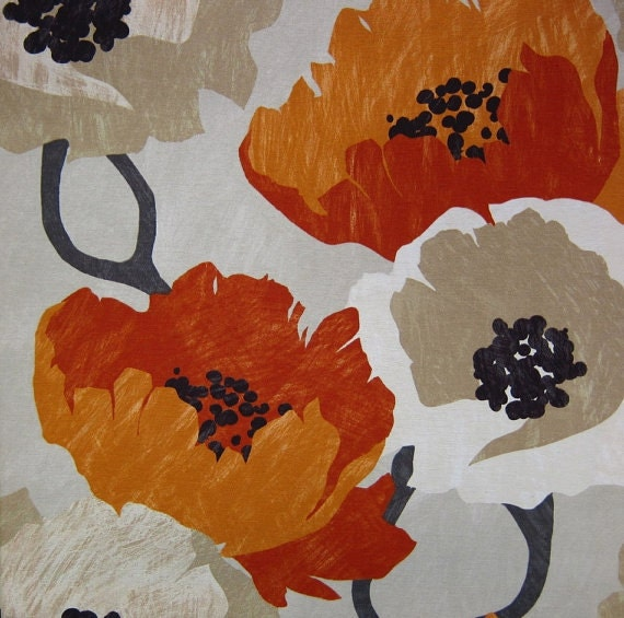 Red Large Scale Floral Print Design