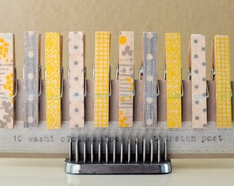 Washi Tape Covered Clothespins Set of 10 Mini Clothespins Yellow Gray
