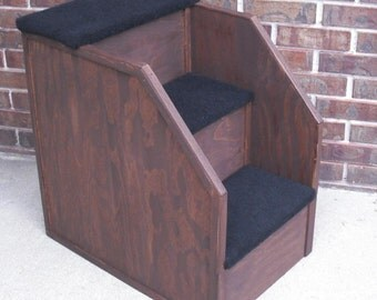 24 inch tall Wood Dog step Cat step Pet step with Tall side walls Step Stairs