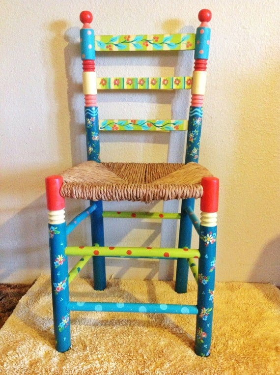 Items Similar To Whimsical Hand Painted Furniture , Ladder
