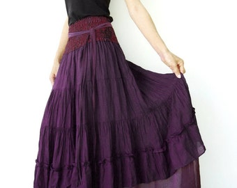 NO.36 Purple Cotton Tiered Peasant Skirt, Long Maxi Skirt