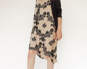 NO.140 Dusty Sand Cotton Jersey Hi-Low Dress, Floral Printed Dress