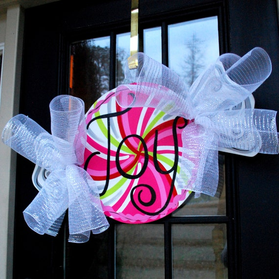 Christmas door hanger peppermint decor candy