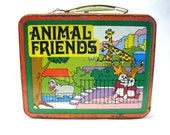 1960's Ohio Art Animal Friends Metal Lunchbox Lunch Box - parkledge