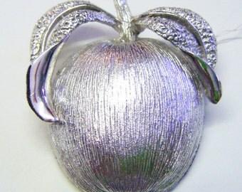 Vintage Silver Apple Brooch or Pendant