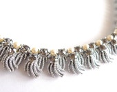 CORO Silver Pearl and Gray Stones Adjustable Vintage Necklace