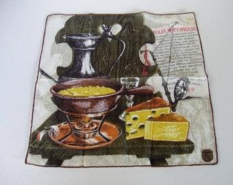 vintage hanky Fondue Stoffels Switzerland unused handkerchief with sticker