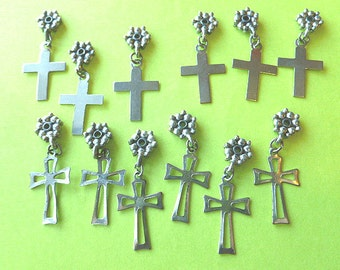 TWELVE Featherwight Cross Charms with Fancy Bail & Openwork Design