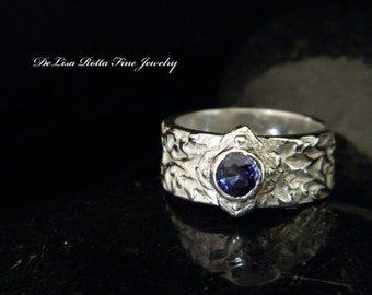 Recycled Silver, Eco Friendly, Conflict Free, Natural Blue Sapphire, Engagement Ring, Fashion Ring, Renaissance Romance Collection