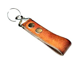 Customizable Leather Keychain - Third Anniversary Gift - Auto Accessories - Best Man Gift - Leatherwork - Gift Box Included