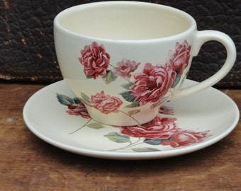 Vintage Cup and Saucer Set, Rose Teleflora