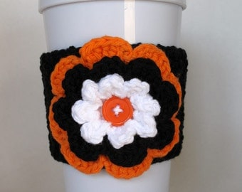 Crocheted Flower Coffee Cup Cozy Black Orange White