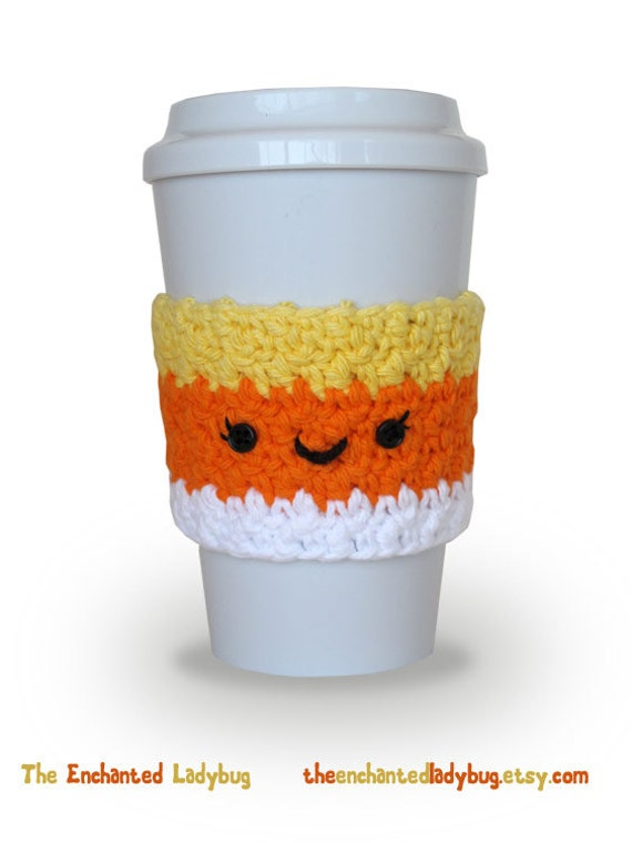 Crocheted Candy Corn Coffee Cup Cozy Handmade