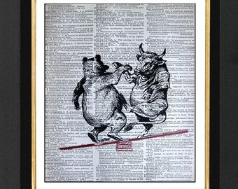 "Bull & Bear Market  ""The Dance""- Wall Street Humor, Mixed Media art print on 8x10 Vintage Dictionary page, Dictionary art, Dictionary print"