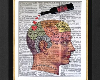 """Wine Connoisseurs """"Aspiring Mind"""" Mixed Media art print on 8x10 Vintage Dictionary page, Dictionary print , Wine Lover Humor, Wine Lover"""