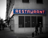 Seinfeld Diner Photo - Tom's Restaurant - Seinfeld Photography - NYC Photography - Urban Decor - Cool Blue - New York City - Monk's Cafe
