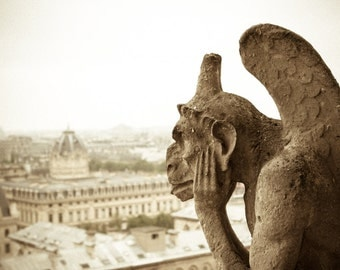 Notre Dame Gargoyle Photograph - Paris Photography - France Print - Notre Dame Cathedral - Paris Rooftop - Wall Art - Vintage Print - B&W