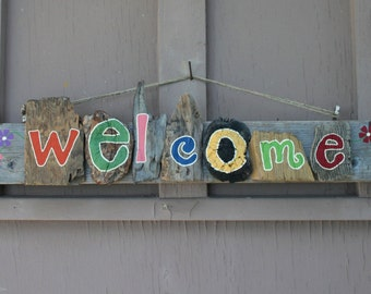 WELCOME Driftwood Art with flowers (Made to Order)