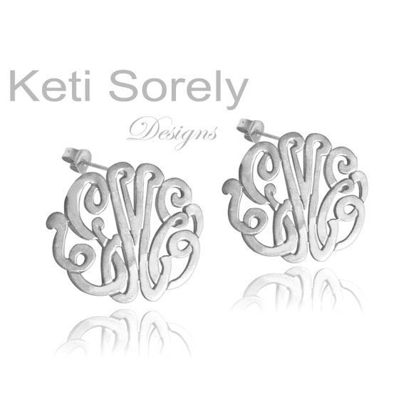 Monogram Earrings - Initials Earrings - Script Stud monogram Earrings - Sterling Silver - Small to Large Sizes