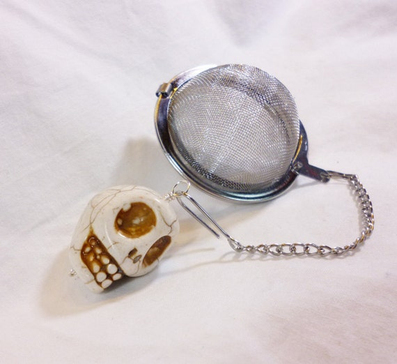 tea infuser with skull charm by dryadtea on etsy