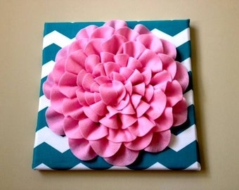 Turquoise and White Chevron Wall Hanging with Pink Flower