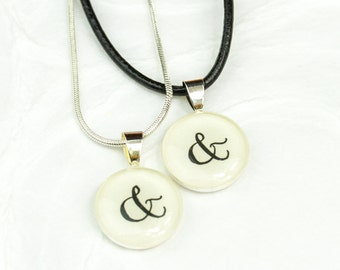 Ampersand Necklace Set, Couple Necklace Set of 2 Ampersand & And Symbol Jewelry, Boyfriend Girlfriend Jewelry, You and Me Jewelry, Handmade