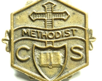 Vintage Brass Methodist Church Pin Lapel Pin Church Congregation Member Collectible