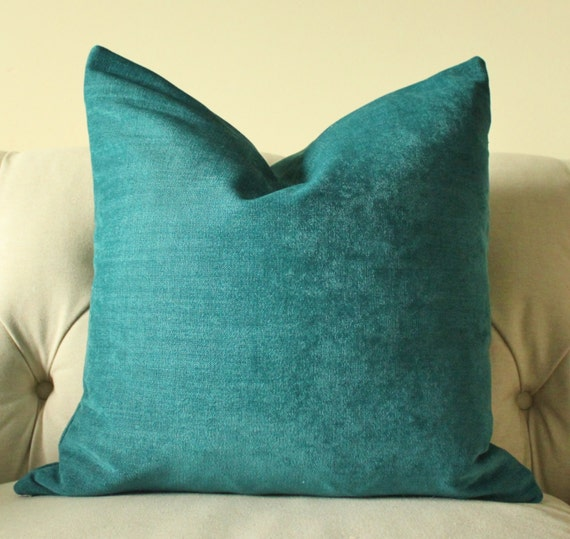 Teal Blue Throw Pillow : Decorative Teal Blue Pillow Dark Turquoise Pillow Cover