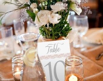 Sweet Love, Printable Wedding Table Numbers, 1-10, Instant Download