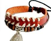 Mens brown leather cuff bracelet,antique silver Pendant bracelet,punk rock bracelet,handmade jewelry S-17