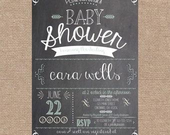 Printable Chalkboard Shower Invitation