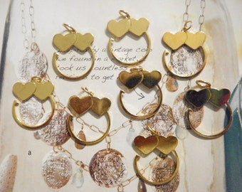 8 Goldplated Double Heart Charm Holders